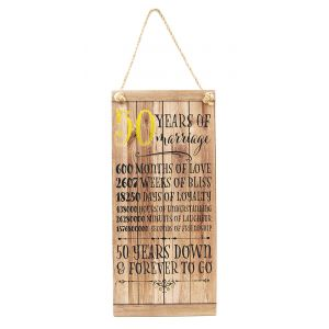 Beautifully Designed 50th Anniversary Vintage MDF Hanging Plaque with Rope