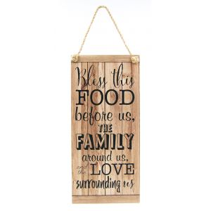 Bless This Food Family Themed Vintage Rustic MDF Hanging Plaque with Rope