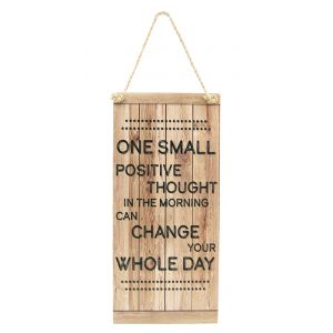 One Small Thought Motivational Vintage Rustic MDF Hanging Plaque with Rope