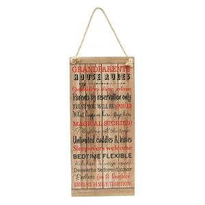 Cute Grandparents Rules for Grandchildren Rustic MDF Hanging Plaque with Rope