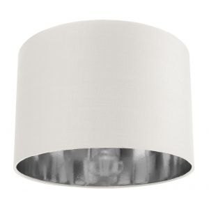 """Contemporary White Cotton 12"""" Table/Pendant Lamp Shade with Shiny Silver Inner"""