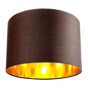 """Contemporary Brown Cotton 12"""" Table/Pendant Lamp Shade with Shiny Copper Inner"""