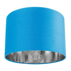 """Contemporary Teal Cotton 12"""" Table/Pendant Lamp Shade with Shiny Silver Inner"""