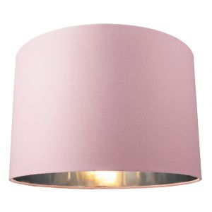"""Contemporary Pink Cotton 12"""" Table/Pendant Lamp Shade with Shiny Silver Inner"""