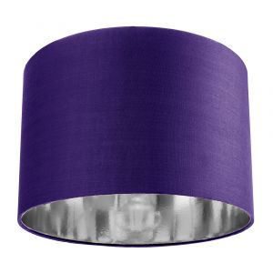 """Contemporary Purple Cotton 12"""" Table/Pendant Lamp Shade with Shiny Silver Inner"""