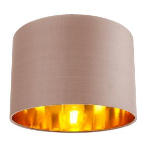 """Contemporary Taupe Cotton 12"""" Table/Pendant Lamp Shade with Shiny Copper Inner"""