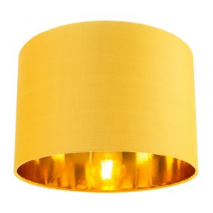 """Contemporary Ochre Cotton 12"""" Table/Pendant Lamp Shade with Shiny Gold Inner"""