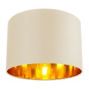 """Contemporary Cream Cotton 12"""" Table/Pendant Lamp Shade with Shiny Copper Inner"""