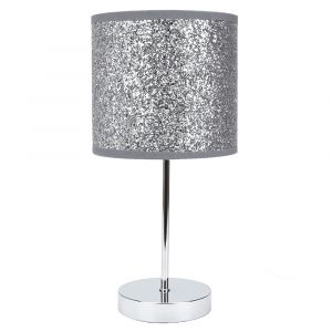 Modern and Novelty Silver Glitter Table Lamp with Chrome Metal Base and Switch