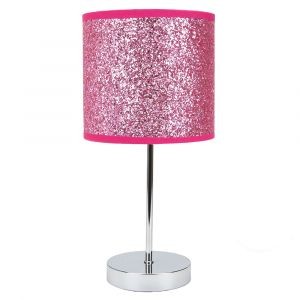 Modern and Novelty Pink Glitter Table Lamp with Chrome Metal Base and Switch
