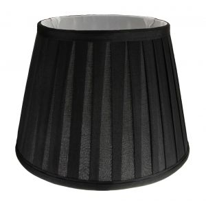 """Traditional Classic Black Faux Silk Pleated Inner Lined Lampshade - 10"""" Diameter"""