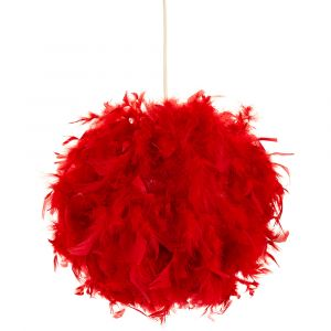 Eye-Catching and Modern Small Red Feather Decorated Pendant Lighting Shade