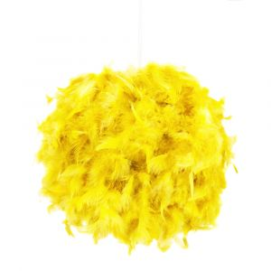 Eye-Catching and Modern Small Yellow Feather Decorated Pendant Lighting Shade