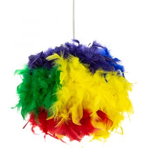 Eye-Catching and Modern Multi-Coloured Feather Decorated Pendant Lighting Shade