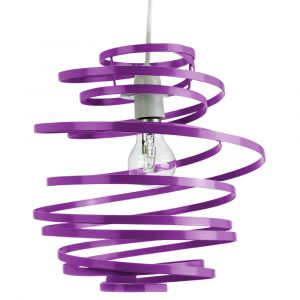 Contemporary Purple Gloss Metal Double Ribbon Spiral Swirl Ceiling Light Pendant