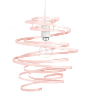 Contemporary Pink Gloss Metal Double Ribbon Spiral Swirl Ceiling Light Pendant