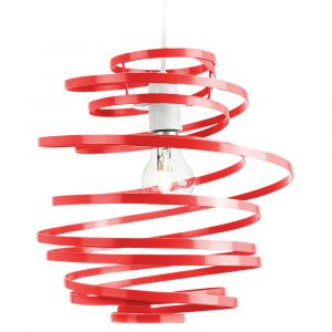 Contemporary Red Gloss Metal Double Ribbon Spiral Swirl Ceiling Light Pendant