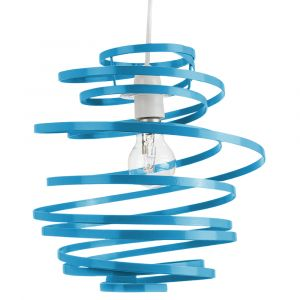 Contemporary Teal Gloss Metal Double Ribbon Spiral Swirl Ceiling Light Pendant
