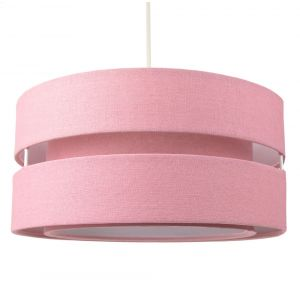 Contemporary Quality Pink Linen Fabric Triple Tier Ceiling Pendant Light Shade