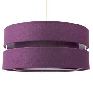 Contemporary Quality Purple Linen Fabric Triple Tier Ceiling Pendant Light Shade