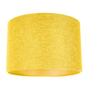Contemporary and Sleek Yellow Plain Linen Fabric Drum Lamp Shade 60w Maximum