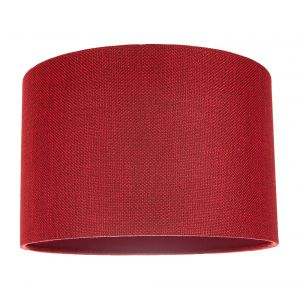 Contemporary and Sleek Red Plain Natural Linen Fabric Drum Lamp Shade 60w Max