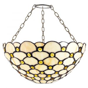 Traditional Amber Glass Tiffany Easy Fit Shade with Multiple Circular Beads