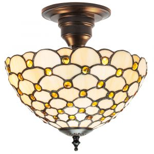 Traditional Amber Glass Tiffany Ceiling Light with Multiple Circular Beads