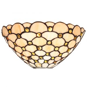Traditional Amber Glass Tiffany Wall Light Fitting with Multiple Circular Beads