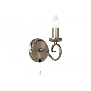 Traditional and Classic Antique Brass Wall Light Fitting with Pull Switch