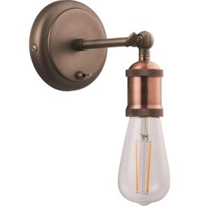 Vintage and Industrial Aged Copper Wall Light Fitting with Toggle Switch Button