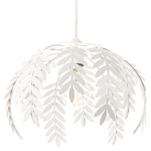 Traditional Fern Leaf Design Ceiling Pendant Light Shade in White Gloss Finish