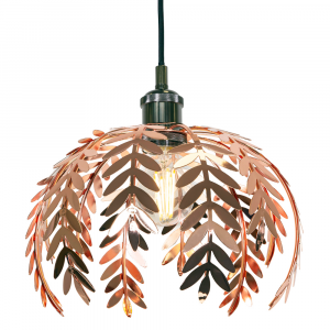 Traditional Fern Leaf Design Ceiling Pendant Light Shade in Shiny Copper Finish