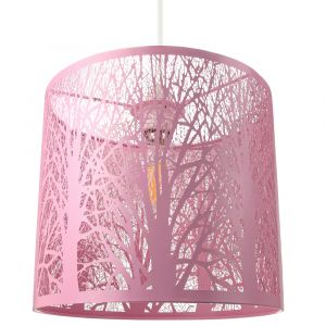 Unique and Beautiful Soft Matt Pink Metal Forest Design Ceiling Pendant Shade