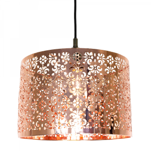 Marrakech Designed Shiny Copper Metal Pendant Light Shade with Floral Decoration
