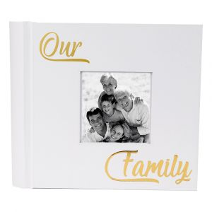 Modern Our Family Photo Album with Gold Foil Text - Holds 80 4x6 Pictures