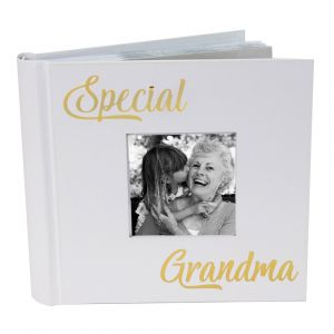 Modern Special Grandma Photo Album with Gold Foil Text - Holds 80 4x6 Pictures