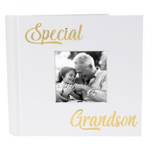 Modern Special Grandson Photo Album with Gold Foil Text - Holds 80 4x6 Pictures