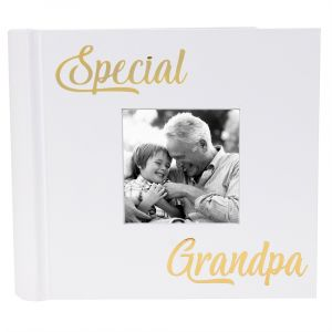 Modern Special Grandpa Photo Album with Gold Foil Text - Holds 80 4x6 Pictures