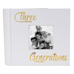 Modern Three Generations Photo Album with Gold Foil Text - Holds 80 4x6 Pictures