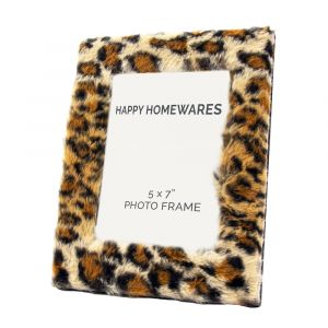 "Contemporary Designer Fluffy Leopard Print 5"" x 7"" Free Standing Picture Frame"