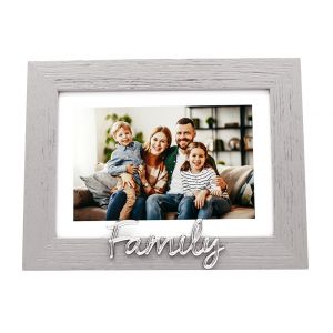 """Grey Woodgrain Effect Family Picture Frame with Silver Letters - 6x4"""" or 7x5"""""""