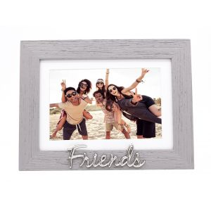 """Grey Woodgrain Effect Friends Picture Frame with Silver Letters - 6x4"""" or 7x5"""""""