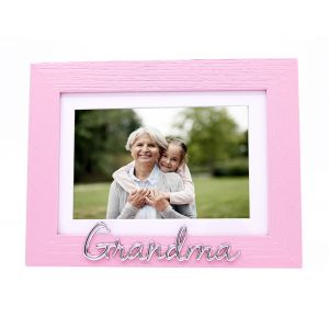 "Pink Woodgrain Effect Grandma Picture Frame with Silver Letters - 6x4"" or 7x5"""