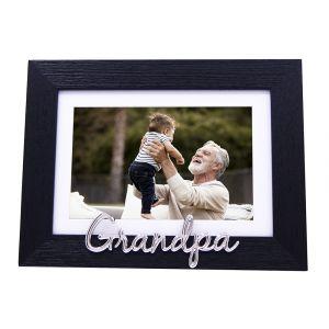 "Modern Black Woodgrain Effect Grandpa Frame with Silver Letters - 6x4"" or 7x5"""