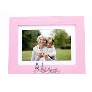 """Pink Woodgrain Effect Nana Picture Frame with Silver Letters - 6x4"""" or 7x5"""""""