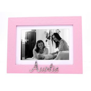 "Pink Woodgrain Effect Auntie Picture Frame with Silver Letters - 6x4"" or 7x5"""