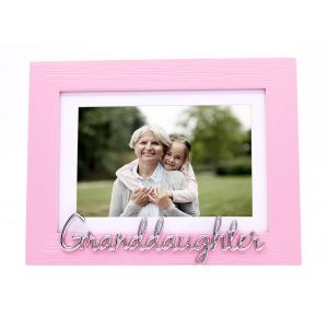 """Pink Woodgrain Effect Granddaughter Frame with Silver Letters - 6x4"""" or 7x5"""""""