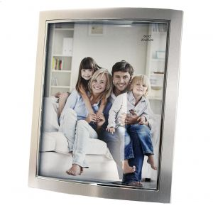 "Contemporary Nickel Plated Metal 8"" x 10"" Picture Frame with Black Velvet"