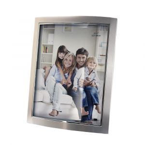 "Contemporary Nickel Plated Metal 5"" x 7"" Picture Frame with Black Velvet"